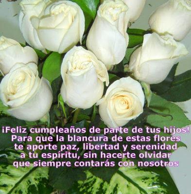 imagenes de rosas blancas con frases cumpleaños