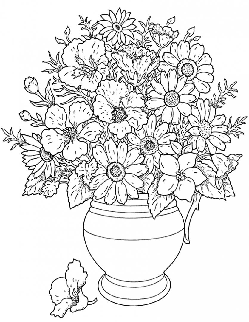 jarron de flores para colorear