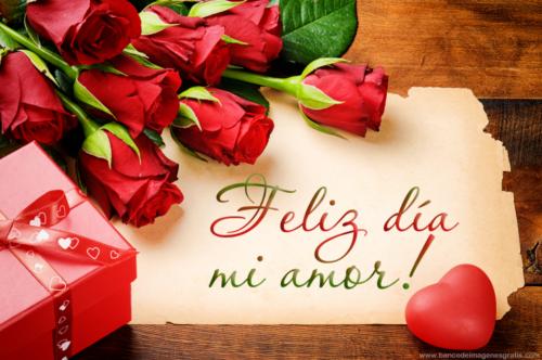 tarjeta de feliz dia amor con rosas